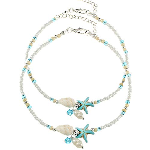 ZEKUI White Mini Bead Bracelet Beach Glass Beads Pearl Strings Women's Shell Blue Starfish Jewelry Handmade Adjustable Anklets Christmas Gifts 2pcs