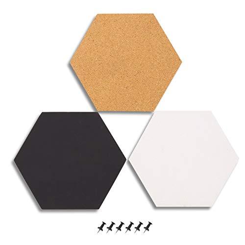 3-Pack Cork Bulletin Boards - Zeshoekige decoratieve tegels in 3 kleuren - Inclusief 6 Push Pins - 7,8 x 7,8 x 0,2 inch