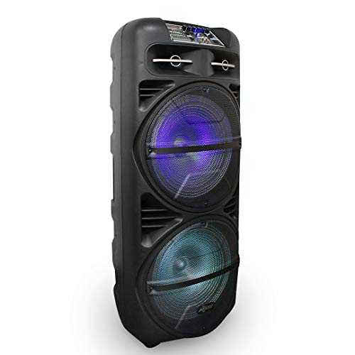"""Portable Bluetooth Party Speaker, with Round LED Lights, 15"""" Woofer, 3"""" Tweeter, USB SD Card AUX FM Inputs, Axess PABT6020 Loud Indoor Outdoor Wireless Loud Speaker, Black (PABT6020)"""