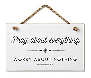 Marvin Gardens Designs Farmhouse Style Bible Verse Wall Decor Wood Sign 9.5 x 5.5 Inch Wood Made in The USA  Pray About Everything  White  9.5 x 5.5