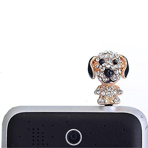 Lusee Handyschmuck Handys Dust Plug Staub Schutz Stecker Stöpsel Kopfhörer Kopfhörerbuchse Funktioniert auf alle (3,5 mm) Kopfhöreranschluss Hunde mit Künstlicher Diamant
