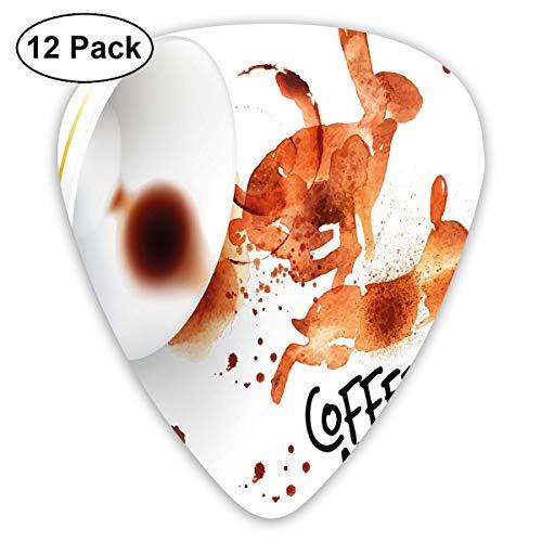 Gitaar Picks12pcs Plectrum (0.46mm-0.96mm), Drink & Be Geïnspireerd Koffie Maakt U Sneller Quote Espresso Stain,Voor Uw Gitaar of Ukulele