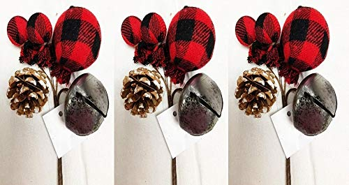 HAPPY DEALS ~ 3 PC   Buffalo Plaid Gingham Country Holiday Pick with Jingle Bell, Pinecone and Buffalo Plaid Balls   8 inch