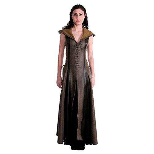 Jerho Damen Vintage Kleidung Kostüm Bogenschütze Cosplay Game of Thrones Leder mit Kapuze Langer Rock
