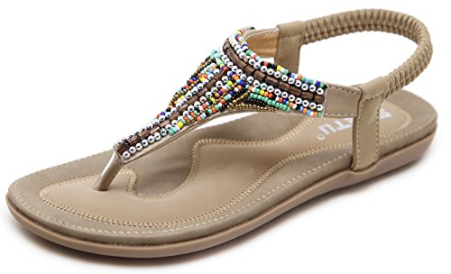 Women's Bohemian Beaded Summer Flat T-Strap Thong Sandals, Beige Open Toe Glitter Rhinestone Shiny Candy Colored Beads Shoes for Dressy Casual Jeans Daily Wear and Beach Vacation Amazon Choice Holiday