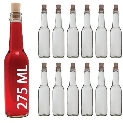 casavetro Bottigliette Vetro con Tappo Sughero - 275 ml - Bottiglia Vuota in Vetro per Vino, Liquore, Acqua, Succo di Frutta, Conserve, Latte, Olio, Birra, Vino, Estratti, Amari (24 x 275 ml)
