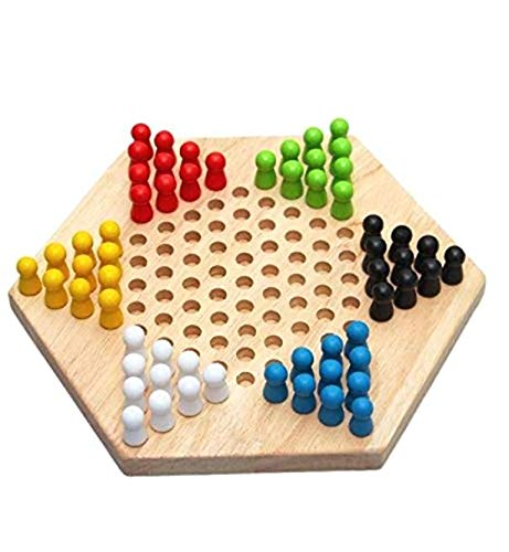 ALONGB Juego de Juego Familiar de Damas Chinas Tradicionales de Madera Hexagonal