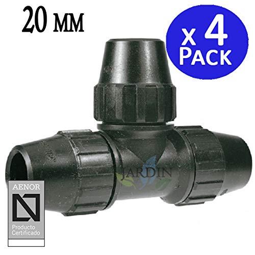 Pack 4 x TE IGUAL POLIETILENO 20MM. Producto con certificado AENOR utilizado en tuberías PE 20 mm para uso fontanería, riego y obras.