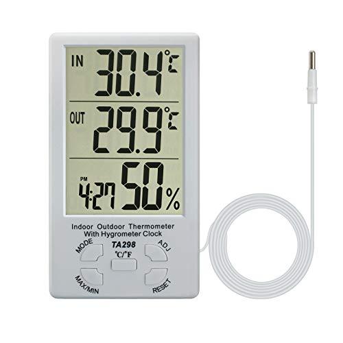 eSynic LCD Digitales Thermo-Hygrometer Innen und Außen Tragbar Thermometer Hygrometer mit Sensor Sonde Temperaturmesser und Luftfeuchtigkeit Überwachung für Zuhause Büro Zimmer- Weiß