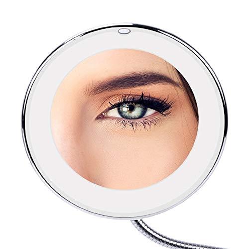 SPLLEADER LED lumière 360 degrés tournant 10x Pliant grossissant Miroir de Maquillage Pliant cosmétique de Salle de Bains