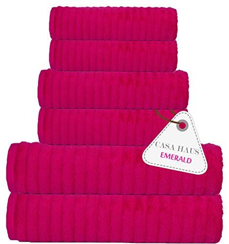 Casa Haus 550 GSM 6 Stück aus ägyptischer Baumwolle Smaragd Handtuch Set - Pink