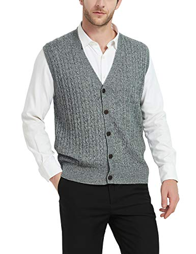 Kallspin Relaxed Fit Mens V-Neck Cable Knit Cashmere Sweater Vest with Front Button (Light Grey, Large)