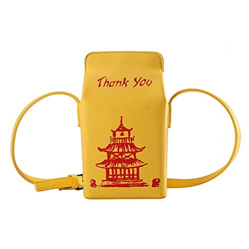 ZHINTE Bolsa de Mensajero Bandolera Bolsos de Hombro con Caja de impresión de Torre China para Mujer, Bolso Bandolera de Dibujos Animados a la Moda