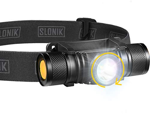 SLONIK  Adjustable beam  500 Lumen Rechargeable LED Headlamp 2200 mAh Battery  Lightweight Durable Waterproof and Dustproof Headlight  Xtreme Bright 300 ft Beam  Camping and Hiking Gear