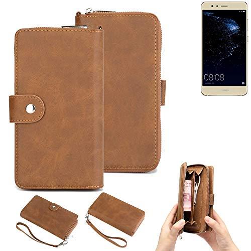K-S-Trade 2in1 Handyhülle Für Huawei P10 Lite Dual-SIM Schutzhülle und Portemonnee Schutzhülle Tasche Handytasche Hülle Etui Geldbörse Wallet Bookstyle Hülle Braun (1x)