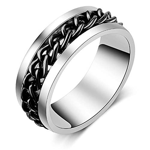 ZIYUYANG anillo de acero inoxidable con textura de neumático para hombre negro fresco de 5 colores 10 NEGRO