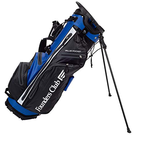 Founders Club Waterproof Golf Stand Bag Ultra Dry for Rainy Days on The Golf Course Light Weight 14 Way Full Length Divider with Dual Padded Carry Strap (Blue)