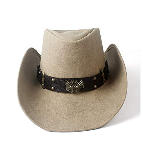 YIBANG-hat Chapeau de Cowboy Occidental en Cuir for Femme, léger, Respirant (Couleur : Tan, Taille : 58-59)