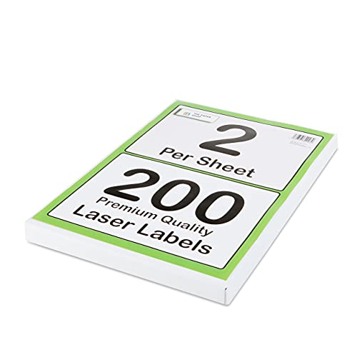 [200 Labels] Self Adhesive White Sticky Printer Labels for A4 Printer 2 per...