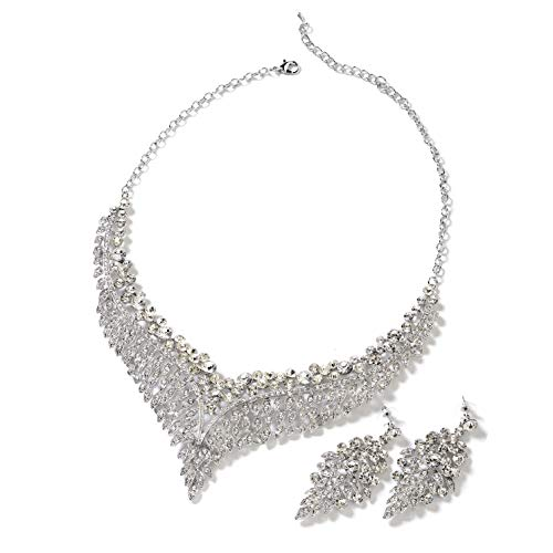"Wedding Bridal Crystal Earrings Statement Bib Necklace Fashion Jewelry Set 20"" Ct 49.2 (White) Mothers Day Gifts"