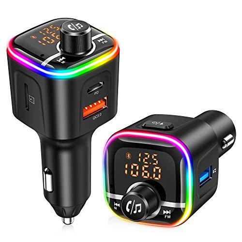 Trasmettitore FM Bluetooth per Auto, 8 Colori Controluce con Modalità Gradiente, Bluetooth Auto 5V/3A Supporto Visualizza la Tensione,Vivavoce Bluetooth per Auto (PD18W, QC3.0) Supporto U Disk TF Card