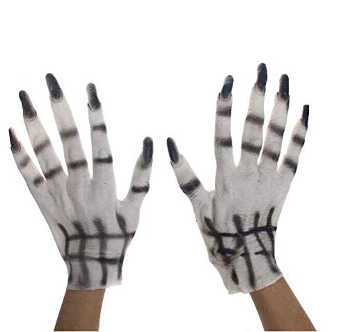 Hoocozi Halloween Costume Gloves Monster Hands Gloves Black Ghost Nail Gloves Monster Fingers Gloves Halloween Skeleton Hand Scary Ghost Hand Gloves