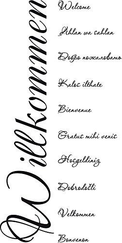 GRAZDesign Wandsticker Wandspruch Aufkleber Senkrecht - Home Dekoration modern auf Verschiedene Sprachen - Wandtattoo Flur Eingang Welcome Velkommen / 114x57cm / 720108_57_070