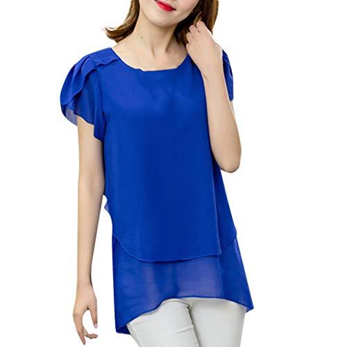 Deloito Sommer Damen Mode Blusen T-Shirt Kurzarm Chiffon Shirts Tops Große Größe Tee Bluse Lose Langer Abschnitt Hemd (Dunkelblau,XXX-Large)