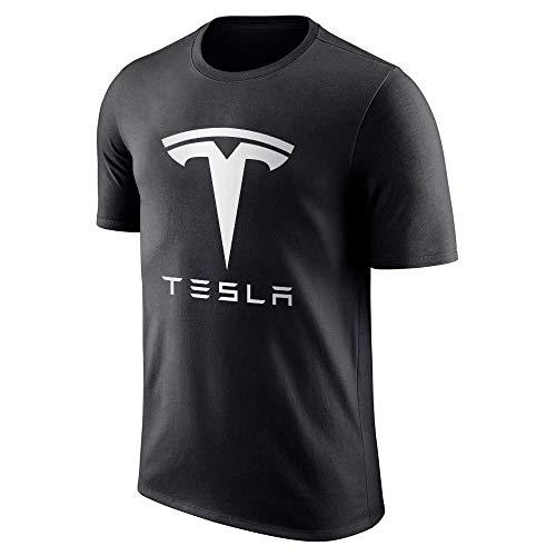 ZiYALAw Herren\'s Short Sleeve T-Shirt Tesla Schwarz Logo Graphischer Druck Schwarz X-Large (C:011)