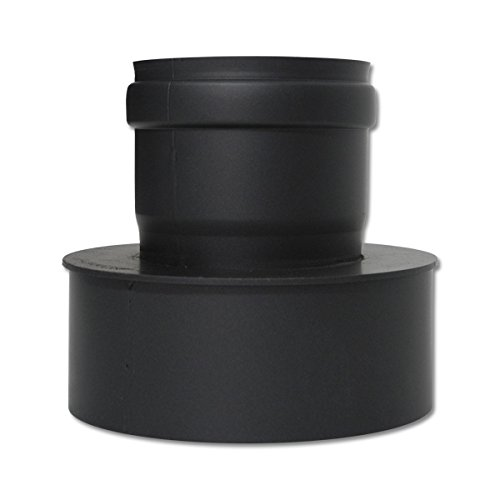 Pelletrohr Erweiterung 100 - 150 mm Schwarz Pellet Ofenrohr Rauchrohr