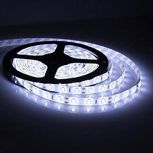 Tuscom Ultra Bright 3528 SMD LED,Non-Waterproof Led Strip for rHome Ceiling, Bathroom and Kitchen Lights, Furniture, Shelves and Cupboards (Cold White)