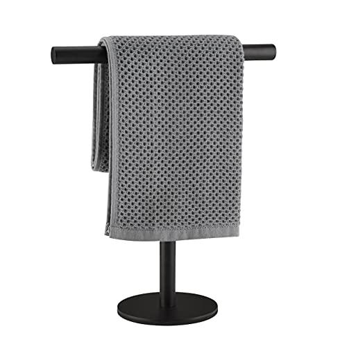 Lolypot Toallero de pie de acero inoxidable 304, color negro, sin agujeros, para baño y cocina