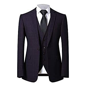FTIMILD スーツ メンズ ビジネススーツ 上下セット フォーマルスーツ スリムタイプ チェック花柄 結婚式 パーティー プロポーズ オールシーズン 一つボタン 防シワ 通気性