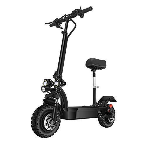 SONGZO Scooters Eléctricos 3200 W Motor Velocidad Máxima 70 km/h Doble Tracción 11 Pulgadas Neumático de Vacío Todoterreno Freno de Disco Doble Scooter Plegable con Batería de Litio de 60 V 26 AH
