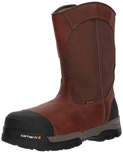Carhartt Bota industrial Wellington Cme1355 masculina Ground Force 25,4 cm à prova d'água, Peanut Oil Tan Leather, 14 Wide
