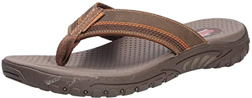 Skechers Men's REGGAE COBANO Flip Flops, Brown (Brown Leather BRN), 9.5 (44 EU)