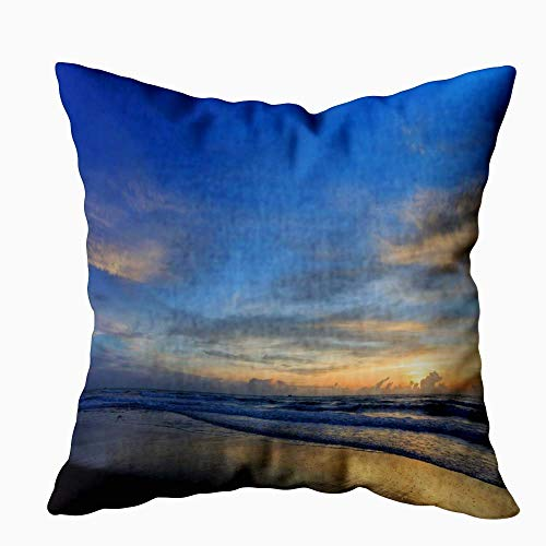 Gypsophila Pillow Cases Standard Size, Decorative Zip Pillow Cover Sunrise Sky Morning Colorful Cloud Beach Beautiful Summer Background 16X16Inch for Sofa Home Holiday Pillow Covers