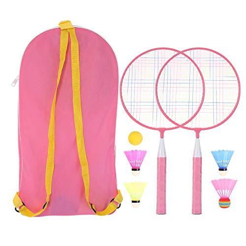 Badminton-Set für Kinder, 1 Paar Badmintonschläger-Set, leichtes Kinder-Badmintonschläger mit 2 Badmintonschlägern, 4 Federbällen, 1 Schwammball für Indoor-Outdoor-Sportspiele mit Tragetasche (Pink)