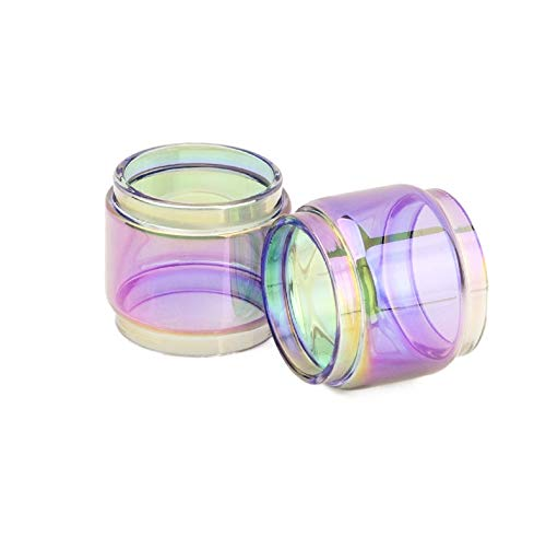 Tubo de Burbuja de Cristal en Forma for Vaporesso Skrr-s/Skrr/Luxe S/Cielo Solo Plus/NRG Tanque/Revenger Tubo X Tanque 5 ml de Grasa (Color : Rainbow, tamaño : 2pcs)