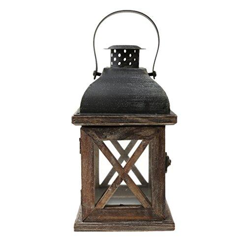 MagiDeal Lanterne à Bougie en Bois Vieilli Bougeoir Porte-Bougie Décoration Mariage Rustique - # 3, 11.5x11.5x21cm