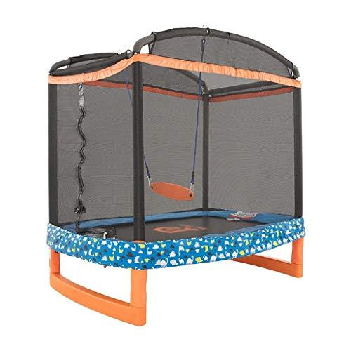 Trampolines de interior Trampolín De Columpio para Niños, Hogar con Cama De Rebote De Red De Protección para Adelgazar (Color : Black, Size : 182.8 * 127 * 186cm)
