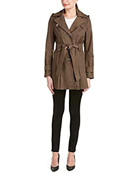 VIA SPIGA Women s Single-Breasted Belted Trench Coat with Hood Peat Green X-Small