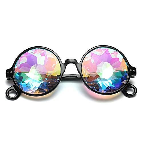 PrittUHU Ronda de Cristal faceta Prisma Gafas Mujeres Diamante psicodélico Hombres Divertido Rave Festival Fiesta Fiesta de Sol Gafas de Sol (Lenses Color : ABlack)