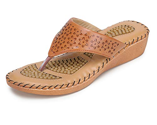 TRASE 44-077 Tan Ortho Doctor Slippers for Women - 9 UK