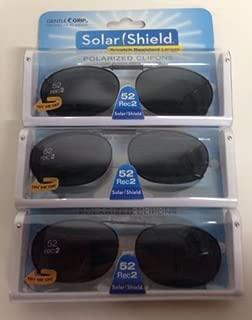 3 SOLAR SHIELD Clip-on Polarized Sunglasses 52 Rec 2 Black Full Frame NEW