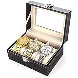 ANZRY Caja de Almacenamiento de Relojes Caja de Presentación de Almacenamiento de Relojes Hebilla de Metal 3 Ranuras Negro para Guardar Relojes y Joyas