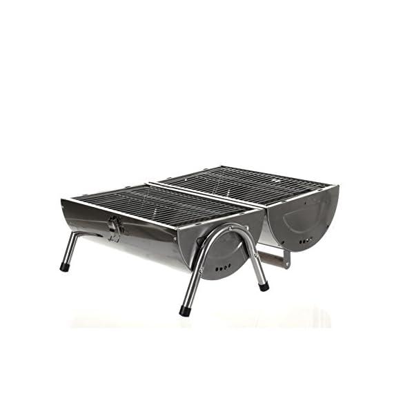 Marko Silver Portable Barrel BBQ Barbecue Steel Table Top Outdoor Garden Camping Picnic 4