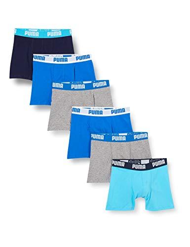 PUMA Boys Basic Duo Boy's Multipack Boxer Shorts, Blue/Navy/Grey, 170-176