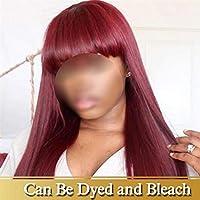 ウィッグ Bangsの人間の髪の毛のかつらとウィッグとウィッグBangsの人間の髪のウィッグ黒人女性のための人間の髪の毛のかつら150%密集したレミーの髪かつら 自然に見える (Color : 1Pcs/Lot, Stretched Length : 18inches)