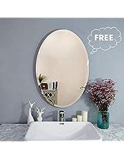 Creative Arts n Frames Exquisite Oval Frame Less Beveled Mirror for Dressing, Bedroom, Bathroom, Living Room (Silver)